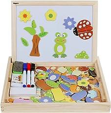 Anpro Magnetisches Holzpuzzle mit Doppelseitiger Tafel, 110 Stück pädagogisches Holzspielzeug Lernspielzeug Staffelei Doodle für Kinder ab 3 Jahre Alt