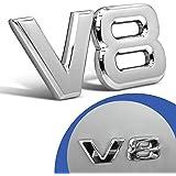 V8 Emblem Zeichen Chrom Schriftzug Auto Aufkleber Motorhaube Kotflügel Logo 3d Auto
