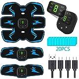 PewinGo Elettrostimolatore per Addominali Elettrostimolatore Muscolare ABS Stimolatore Addome/Braccio/Gambe con USB Ricaricabile, 20 Pezzi Gel di Ricambio (10 Pacco)…