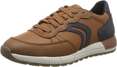 Geox boy J ALBEN D Low-Top Sneakers, Brown (Cognac/Navy C6176), 34
