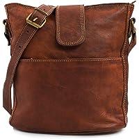 Nama 'Nicola' Umhängetasche Echtes Leder Shopper für Damen Vintage Look Handtasche Beutel Tasche Schultertasche…