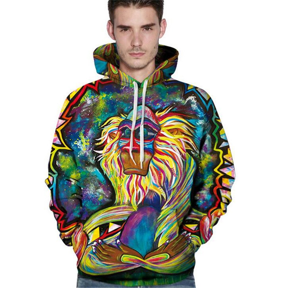 ea73ca71d11 Fsanly 3D Hoodies Men Psychedelic Monkey 3D Printed Sweatshirts ...
