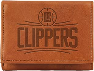 "NBA Los Angeles Clippers Embossed Leather Trifold Wallet, 4.25"" x 3"", Tan"