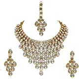 I Jewels Traditional Gold Plated Stone Studded Bridal Choker Necklace Set Earrings & Maang Tikka For Women (IJ332W)