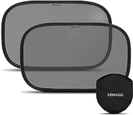 Sonnenschutz fürs Auto mit geprüftem UV Schutz 55+ von Kewago | 2 Stück selbsthaftende Auto Sonnenblenden | Schützt Baby und Kinder vor Sonne und spendet Schatten