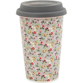"Coffee-to-Go-Becher Porzellan /""Gold Stars/"" Kaffee-Becher Reise-Becher mit Deckel"