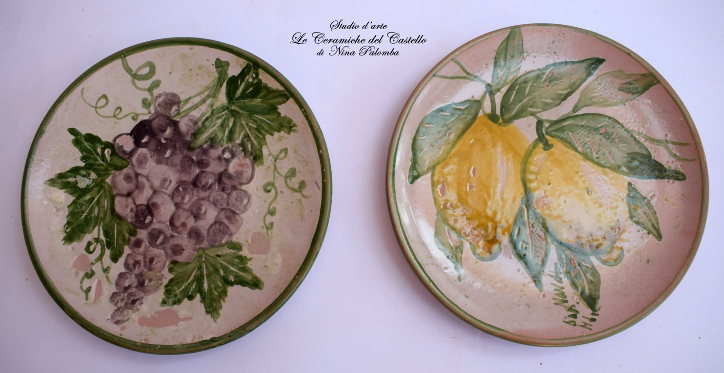 Two Decorative Ceramic Wall Plate Fruits Line Unique Manufact