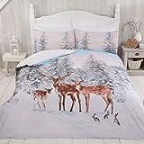 Sleepdown Stag Family Xmas Christmas Winter Animals Festive Scene White Grey Snowflakes Reversible Duvet Cover Quilt Bedding