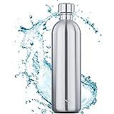 MATE OF STEEL 0,75 L & 1,0 L flaska i rostfritt stål kompatibel med sodastream Crystal & Easy – diskmaskinsäker, kolsyra lämp