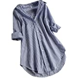 LANSKIRT Camisa de Las Mujeres Impresión de Cuadros Manga Larga Tallas Grandes Loose Casual Blusa con Botones en la Parte Sup
