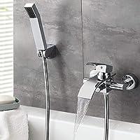 Wand-Badewannenarmatur mit Handbrause Duscharmatur schwarzer Badewannenarmatur bronzefarbener Wasserfall