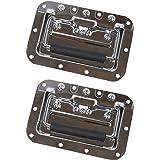 HMF 14992-09 klapgreep set van 2 | inbouwschaal | geveerd | 16 x 10,7 cm | zilver
