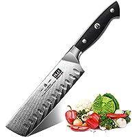 SHAN ZU Couteau Nakiri 16,5 cm, Couteau à Légumes Professionnel Couteau de Cuisine Chef Damas en Acier (AUS-10) Japonais…
