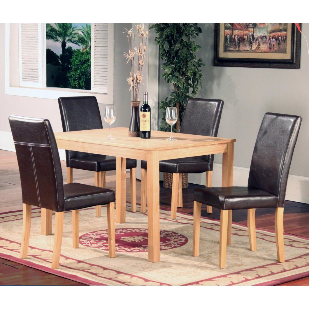 OAKDEN 5 PCS OAK DINING TABLE AND 4 X BLACK FAUX LEATHER HIGH BACK CHAIR SET WOOD Amazoncouk Kitchen Home