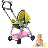Barbie Famille Skipper baby-sitter, petite figurine bébé blond avec poussette jaune et rose, cosy amovible et…