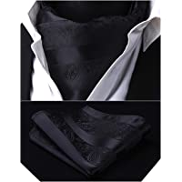 HISDERN Men's Cravat Ascot Floral Paisley Wedding Cravats Handkerchief Jacquard Woven Ascot Tie & Pocket Square Set