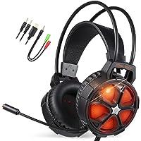 EasySMX Casque PC, Cool 2000 Casque Gaming avec Micro Anti Bruit LED Lampe Stéréo Basse, Casque Gamer pour PS4/PC/Xbox One/Mac/Smartphone (Noir+Orange)