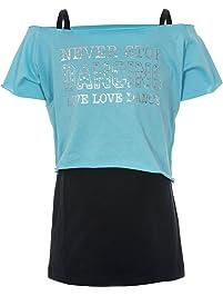 Camiseta de baile para niña con dos capas y la inscripción