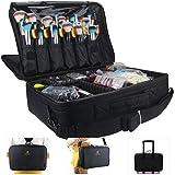حقيبة مكياج بسعة كبيرة من شركة مونستينا بثلاث طبقات لتنظيم مستحضرات التجميل وحقيبة فرش المكياج صندوق خبراء التجميل لتمويج الش