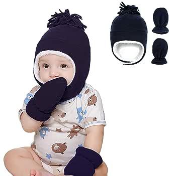 Urban Virgin Newborn Baby Boy Hats Sherpa Lined Warm Fleece Infant Toddler Beanies Winter Hat Mitten Set