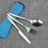 Ensemble de couverts en acier inoxydable - Couteau, fourchette et cuillère - Avec étui en néoprène - Pour camping free…