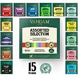VAHDAM Tea bags Assortment - SAMPLER TRIAL PACK | Tea assortment of 15 Premium Tea bags | Immunity Tea range