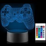 Xpassion Gamepad 3D Nachtlicht mit Fernbedienung 16 Farbwechsel Spielzimmer Dekor Beste Weihnachtsgeburtstagsgeschenke für Ki