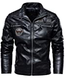 Men's Leather Jacket pu Coat Motorcycle Clothing Plus Velvet Leather Jacket Men