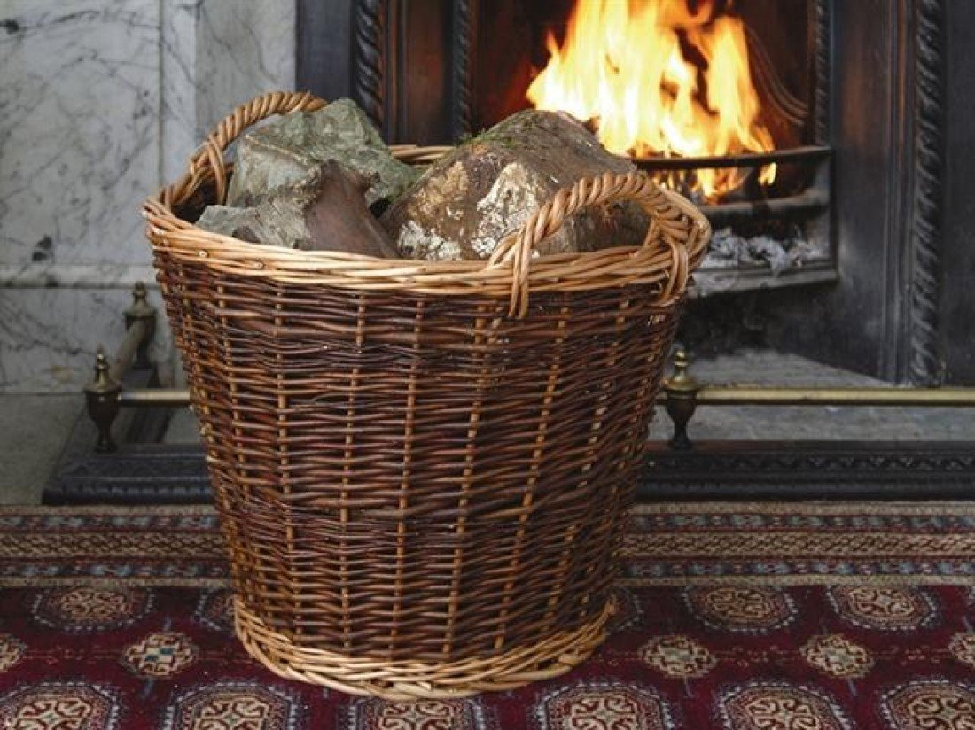 heavy duty wicker log basket large amazon co uk kitchen u0026 home
