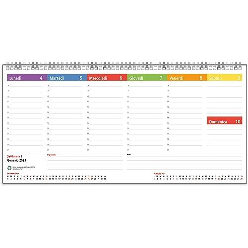Agenda Planning Settimanale da Tavolo 2021 SPIRALATO con tutte le DATE STAMPATE - In Carta ECOLOGICA al 100% - 32x15,5 cm