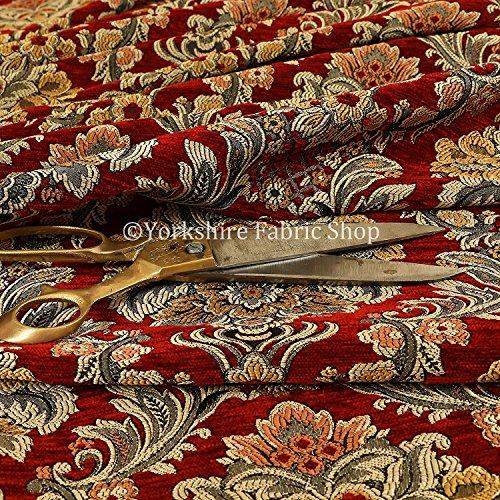 Rico detalle diseño exótico rojo floral de Damasco tapicería decoración tela, rosso, 10cm x 8cm Sample