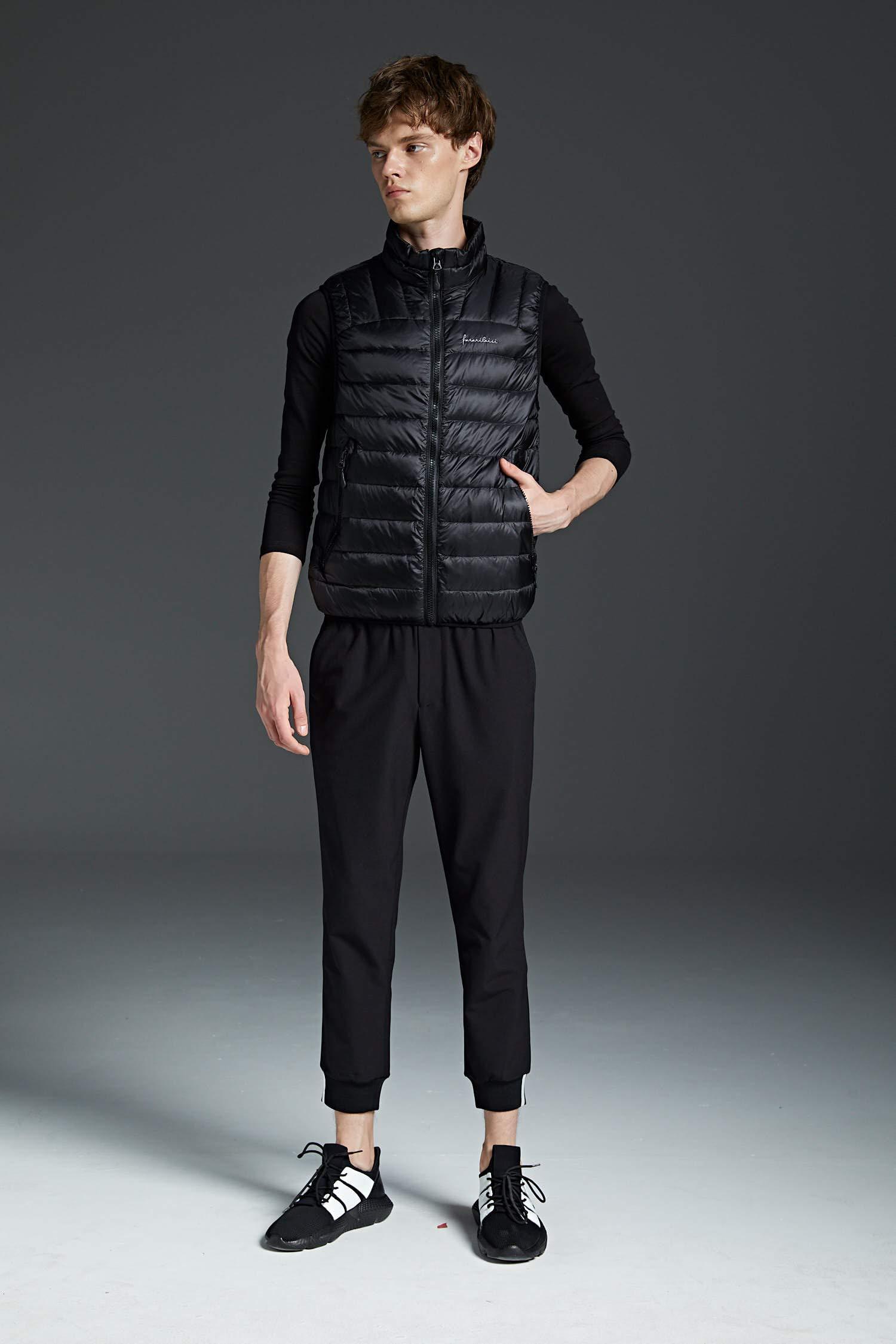 71 XyFuv5FL - NBWS Men's Down Vest Quilted Gilet Mandarin Collar Vest Bodywarmer Sleeveless Slim-fit Outdoor Vests