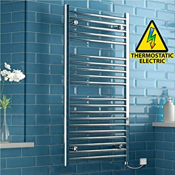 iBathUK 1200 x 600 Thermostatic Electric Heated Towel Rail Bathroom Radiator - All Sizes RE167