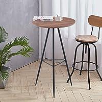 GOLDFAN Table Haute de Bar Table de Bistrot Table Ronde Design Bois Table Haute Et Pieds en Métal 60x60x100cm
