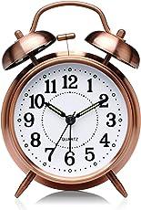 DreamSky Doppelglockenwecker mit Nachtlicht, großes Zifferblatt von 4 Zoll, Analog Quarzwecker mit lautem Alarm,Kein Ticken, geräuschlos