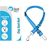 ZACAL Pet Dog Car Seatbelt With Elastic Bungee Spring To Reduce The Sudden Sharp Jolt To Your Pet In When Sudden Braking Or An Accident – Easily Adjustable From 60cm - 90cm (BLUE)