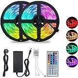 Ruban LED 10M, Bande LED 300 LEDS, 5050 RGB 6 modes d'éclairage, IP65 Étanche,Peut-Découpé Clignotant au Néon Decor Rubans Av