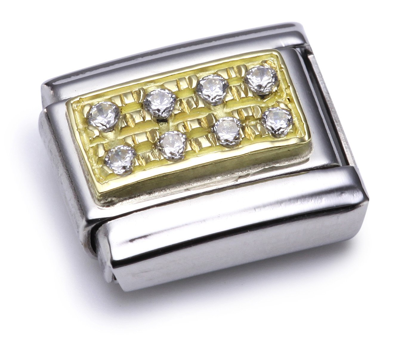 Nomination Composable Classic White Stones Stainless Steel, 18K Gold and Cubic Zirconium