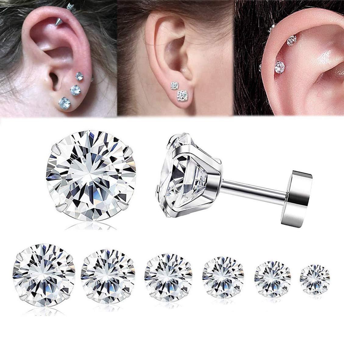 Yadoca 4-7 Pairs 20G(0.8 MM) Stainless Steel Zircon Cartilage Earrings for Men Women Tragus Stud Earrings Shiny CZ