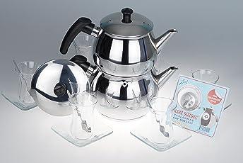 B&E's oriental living Orginal türkisches Tee Set Teeset 'Basic Plus S'/ 6 klassische Gläser/ 6 Rührlöffel (von KD)/ 6 Untersetzer/ 1 Teekocher Teekannen Set Größe S (1,2 & 0,6 Liter)/ 1 Siebeinsatz für die Teekanne