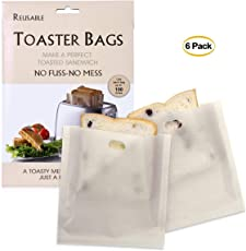 6 pcs Grilled Cheese Toaster Bags Reusable Non Stick Toast Bag Sandwich Toast Bags Pockets Microwave Oven Toaster Bags