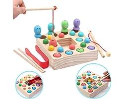 Symiu Giochi Montessori Magnetica Pesca Giocattoli Puzzle in Legno mit 10 Pesci, 10 Perle di Legno, 3 in 1 Magnetici Educativ