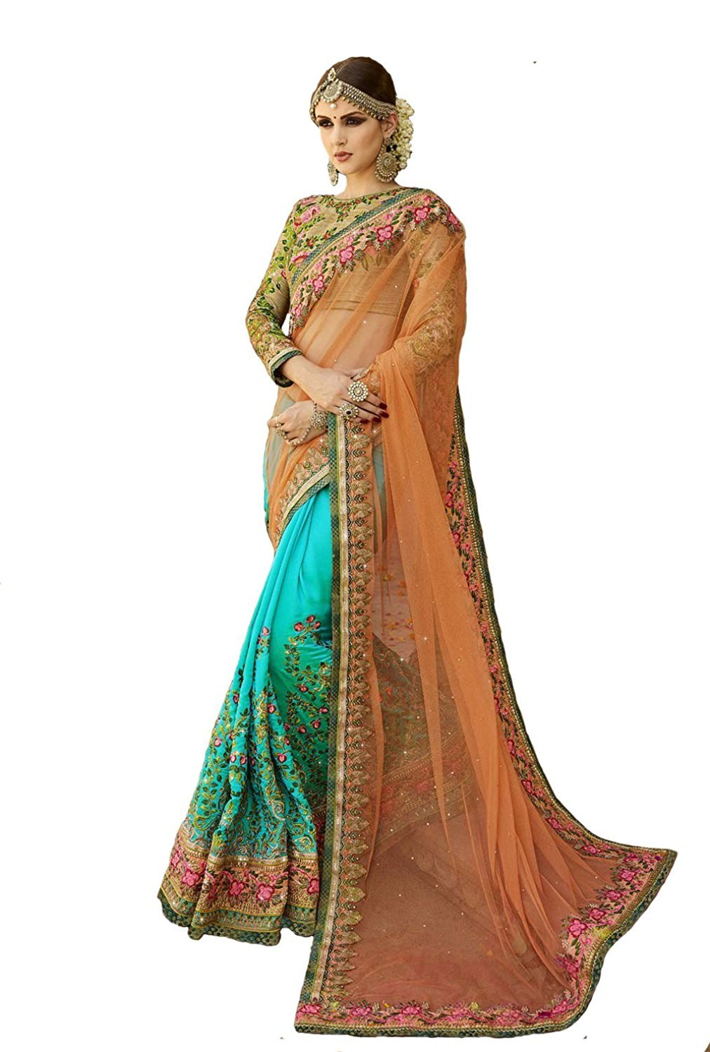 e39d723303 Audacious Women's Net and Georgette Embroidered Heavy Work Saree with Blouse  Piece, Free Size(