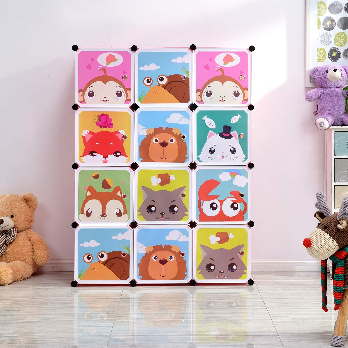 BRIAN & DANY Erweiterbares Kinderregal Kinder Kleiderschrank Stufenregal Bücherregal mit Türen & 2 Aufhängern, tiefere Fächer als normal (45 cm vs. 35 cm), 110 x 47 x 147 cm Blau 2