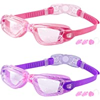 COOLOO Kids Swimming Goggles, 2 Packs Crystal Clear Swim Goggles for Kids, Children, Boys, Girls, and Teens Age 3-15…
