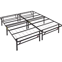 AmazonBasics Platform Foldable Steel Bed Frame, Black, Queen