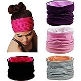 HBF 4 Pezzi di Fascia Capelli Donna in Cotone Traspirante Accessori Sportivi Donna Colori Diversi Fasce Sportive da yoga