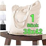 Baumwolltasche 38x42 cm Stück unbedruckt, zwei lange Henkel OEKO-TEX® zertifiziert Stofftasche, Tragetasche, Baumwollbeutel,