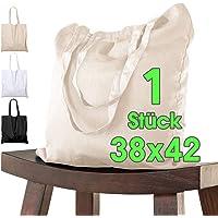 Baumwolltasche 38x42 cm Stück unbedruckt, zwei lange Henkel OEKO-TEX® zertifiziert Stofftasche, Tragetasche…