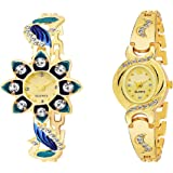 RPS FASHION WITH DEVICE OF R Analogue Girls' Watch (Golden Dial Golden Colored Strap) (Pack of 2)